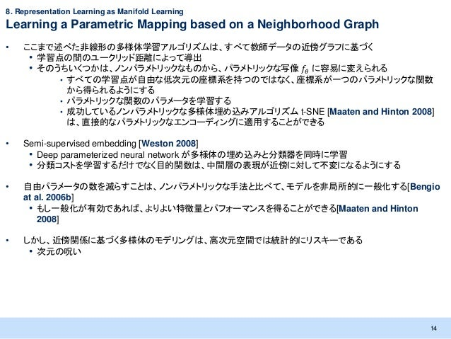 8. Representation Learning as Manifold LearningLearning a Parametric Mapping based on a Neighborhood Graph•   ここまで述べた非線形の多...