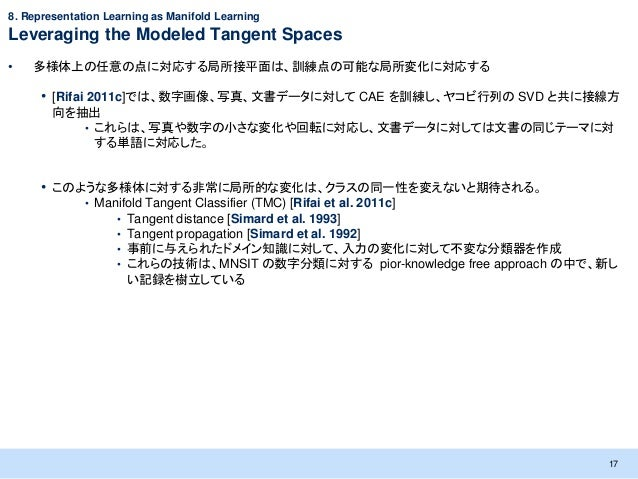 8. Representation Learning as Manifold LearningLeveraging the Modeled Tangent Spaces•   多様体上の任意の点に対応する局所接平面は、訓練点の可能な局所変化に対...
