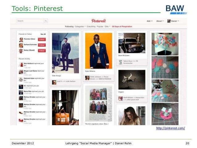 Tools: Pinterest                                                                   http://pinterest.com/Dezember 2012     ...