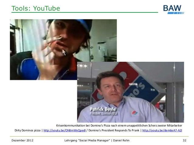 Tools: YouTube                                 Krisenkommunikation bei Domino's Pizza nach einem unappetitlichen Scherz zw...