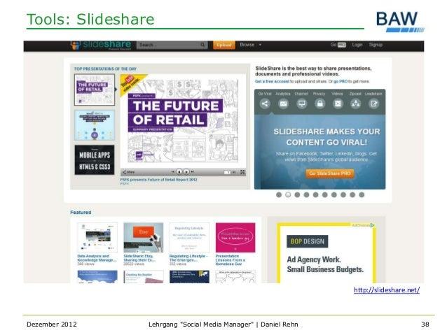 Tools: Slideshare                                                                http://slideshare.net/Dezember 2012   Leh...