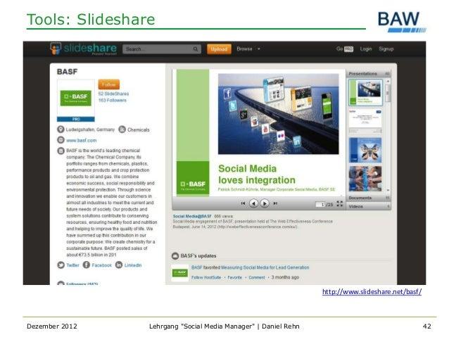 Tools: Slideshare                                                                http://www.slideshare.net/basf/Dezember 2...