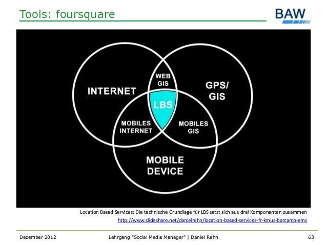 Tools: foursquare                Location Based Services: Die technische Grundlage für LBS setzt sich aus drei Komponenten...