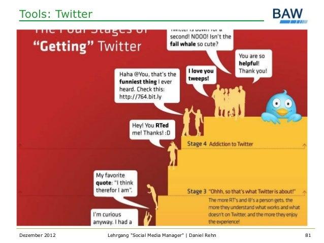 "Tools: TwitterDezember 2012    Lehrgang ""Social Media Manager""   Daniel Rehn   81"