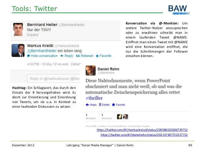 Tools: Twitter                                                                       Konversation via @-Mention: Um       ...
