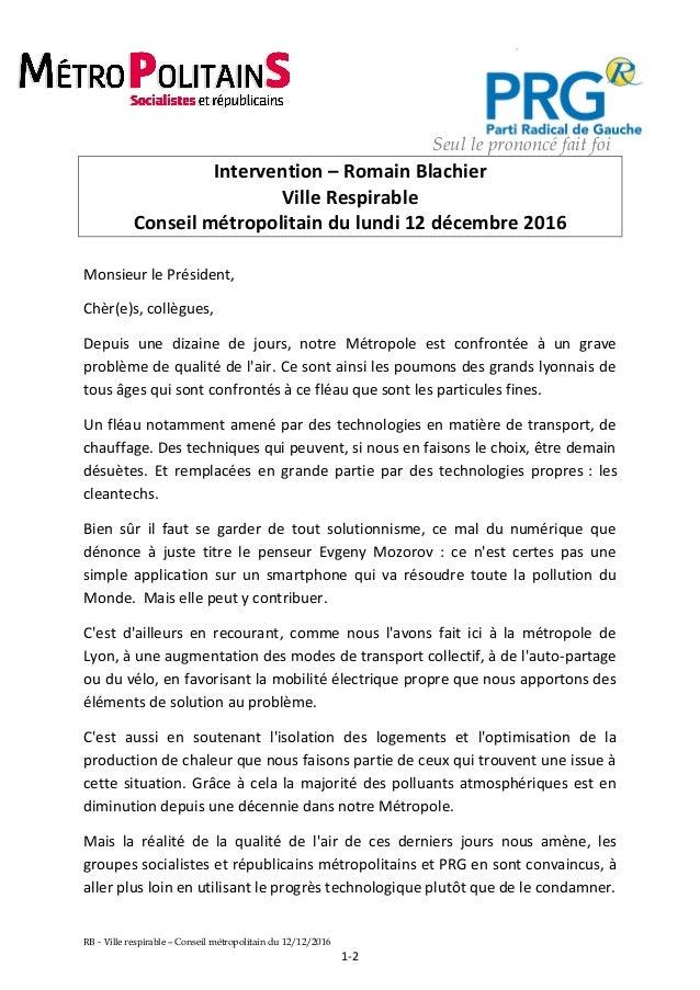 Seul le prononcé fait foi Intervention – Romain Blachier Ville Respirable Conseil métropolitain du lundi 12 décembre 2016 ...