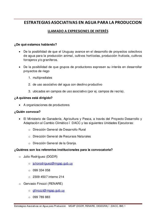 ESTRATEGIAS ASOCIATIVAS EN AGUA PARA LA PRODUCCION                              LLAMADO A EXPRESIONES DE INTERÉS¿De qué es...