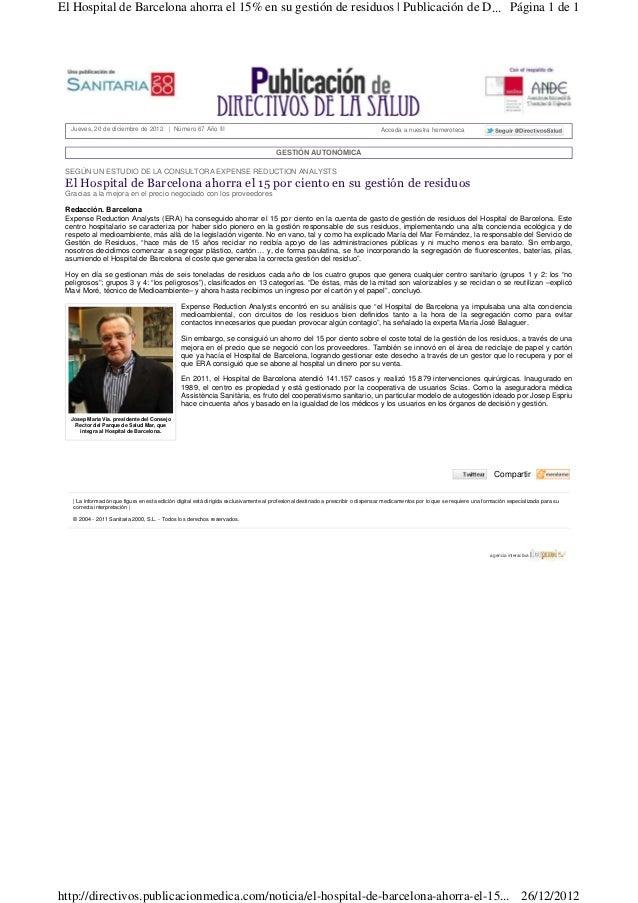 El Hospital de Barcelona ahorra el 15% en su gestión de residuos | Publicación de D... Página 1 de 1  Jueves, 20 de diciem...