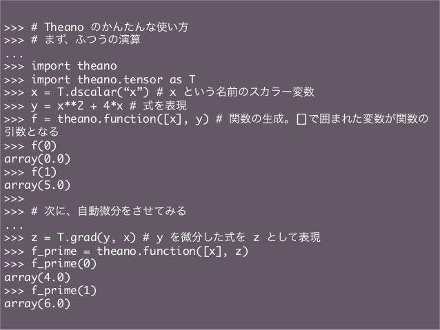 """>>> # Theano のかんたんな使い方>>> # まず、ふつうの演算...>>> import theano>>> import theano.tensor as T>>> x = T.dscalar(""""x"""") # x という名..."""