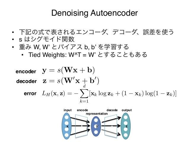 """Denoising Autoencoder     • 下記の式で表されるエンコーダ、デコーダ、誤差を使う""""     • s はシグモイド関数""""     • 重み W, W' とバイアス b, b' を学習する""""         • T..."""