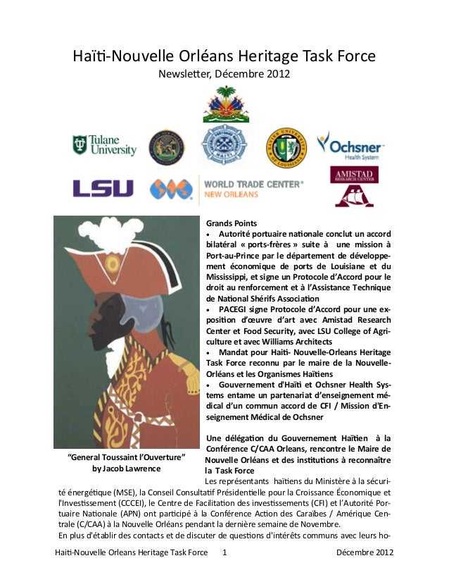 Haiti-Nouvelle Orleans Heritage Task Force 1 Décembre 2012Haïti-Nouvelle Orléans Heritage Task ForceNewsletter, Décembre 2...