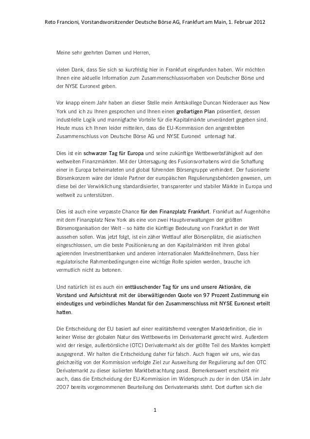 Reto Francioni, Vorstandsvorsitzender Deutsche Börse AG, Frankfurt am Main, 1. Februar 2012 1 Meine sehr geehrten Damen un...