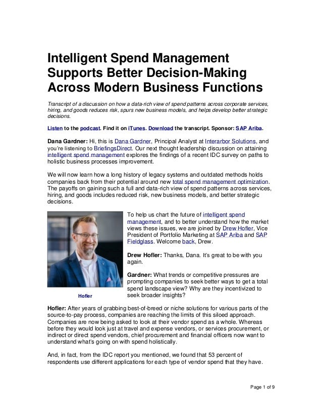 Page 1 of 9 Intelligent Spend Management Supports Better Decision-Making Across Modern Business Functions Transcript of a ...