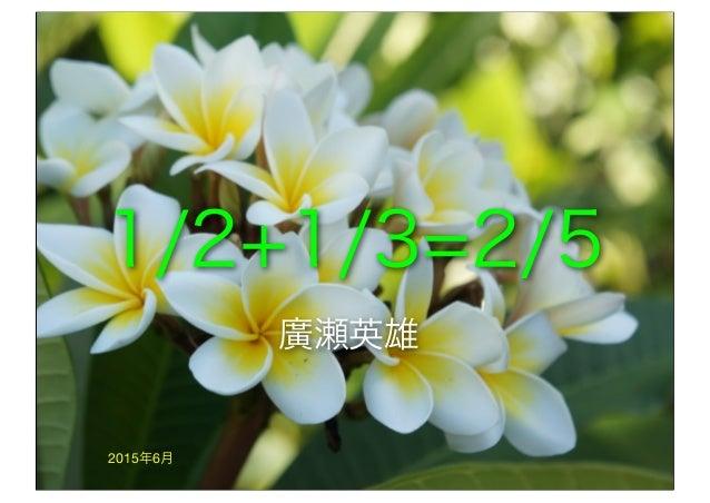 1/2+1/3=2/5 2015年6月 廣瀬英雄
