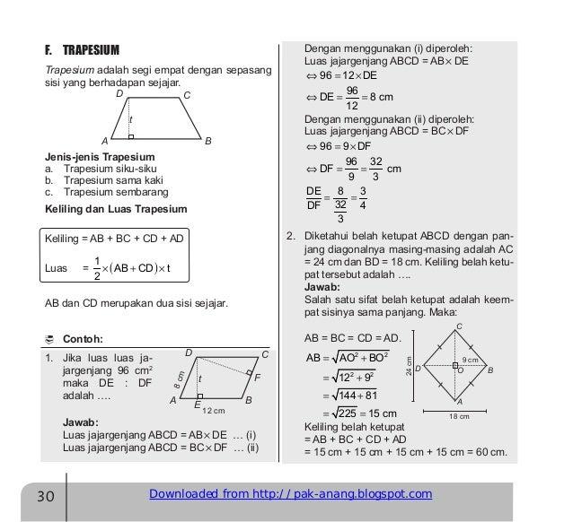 Rumus Tinggi Trapesium Siku Siku Matematika Dasar