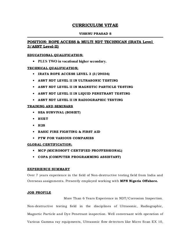 VISHNU PRASAD-CV-IRATA L3 ASNT L2