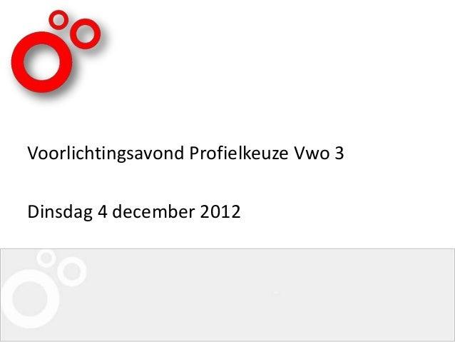 Voorlichtingsavond Profielkeuze Vwo 3Dinsdag 4 december 2012