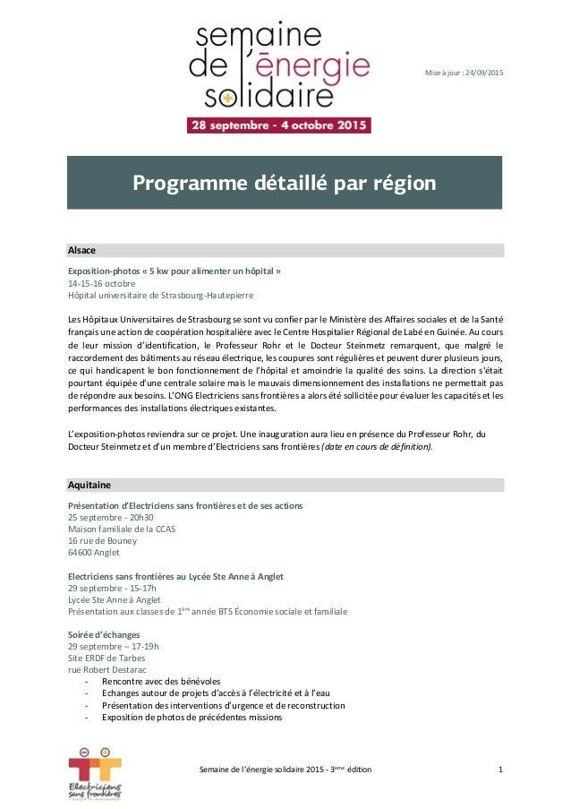 Mise à jour : 24/09/2015 Alsace Exposition-photos « 5 kw pour alimenter un hôpital » 14-15-16 octobre Hôpital universitair...