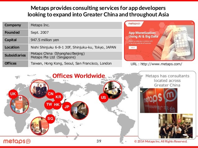 © 2014 Metaps Inc. All Rights Reserved. JP CN KR TW SG HK IN UK US Company Metaps Inc. Founded Sept. 2007 Capital 947.5 mi...