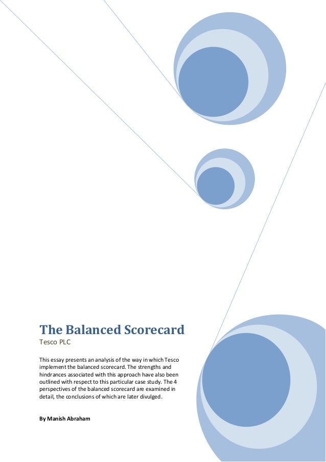 balanced score card for tesco by Balanced score card balanced scorecard,  tesco plc - balance score card the balanced scorecard was initiated by two researchers from harvard business school by .