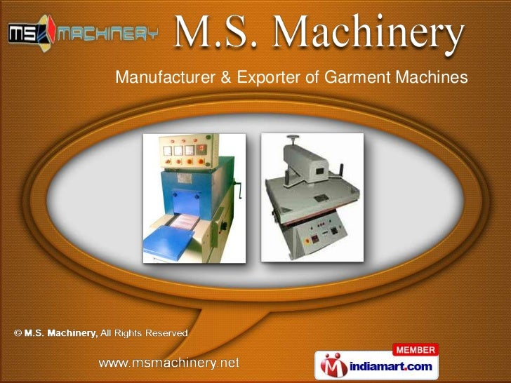 Manufacturer & Exporter of Garment Machines