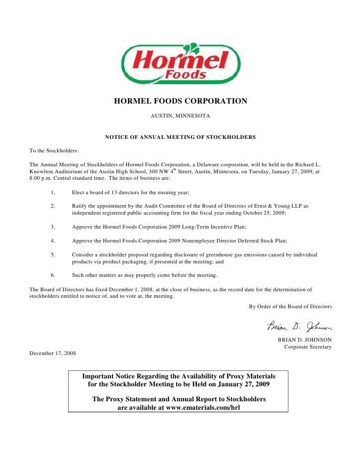 HORMEL FOODS CORPORATION                                                     AUSTIN, MINNESOTA                            ...