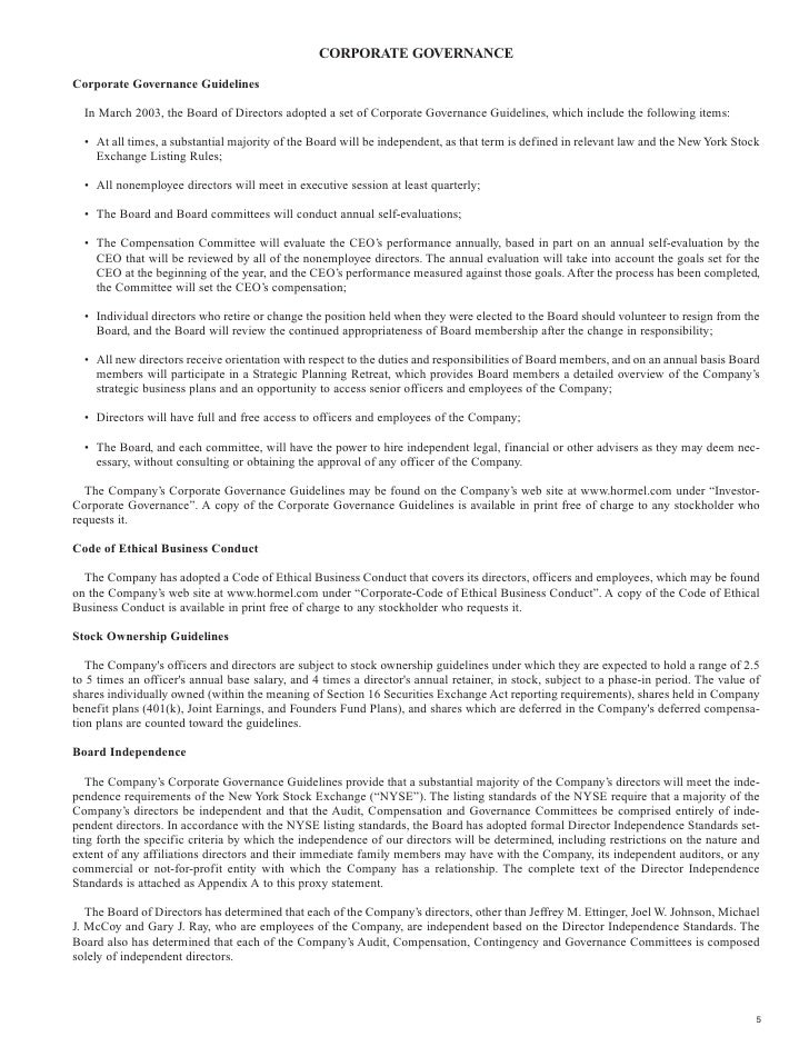 CORPORATE GOVERNANCE  Corporate Governance Guidelines    In March 2003, the Board of Directors adopted a set of Corporate ...