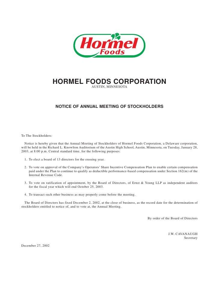HORMEL FOODS CORPORATION                                                  AUSTIN, MINNESOTA                             NO...