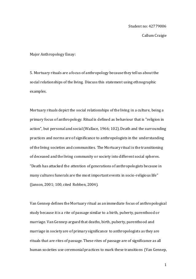 final major anthropology essay 1 student no 42779006 callum craigie major anthropology essay 5