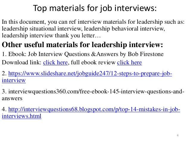 44 leadership interview questions and answers