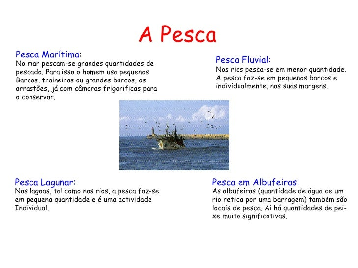 A PescaPesca Marítima:No mar pescam-se grandes quantidades de          Pesca Fluvial:pescado. Para isso o homem usa pequen...