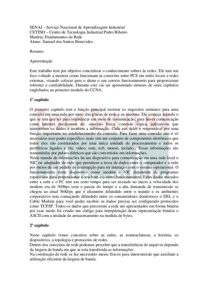 SENAI – Serviço Nascional de Aprendizagem IndustrialCETIND – Centro de Tecnologia Industrial Pedro RibeiroMatéria: Fundame...