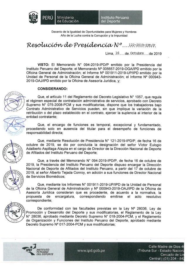 Resolución 122 2019-p-ipd concluye labor de Víctor Aspillaga en DINADAF