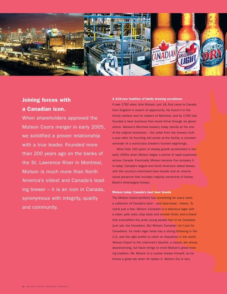 molson coors brewing company essay 2018 annual meeting if you are a shareholder and have received a notice of  internet availability of proxy materials and voting instructions for our 2018.