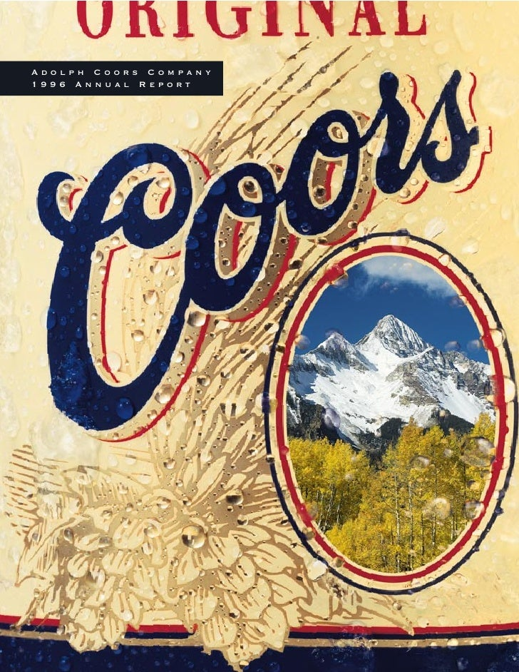 Adolph Coors Company 1996 Annual Report