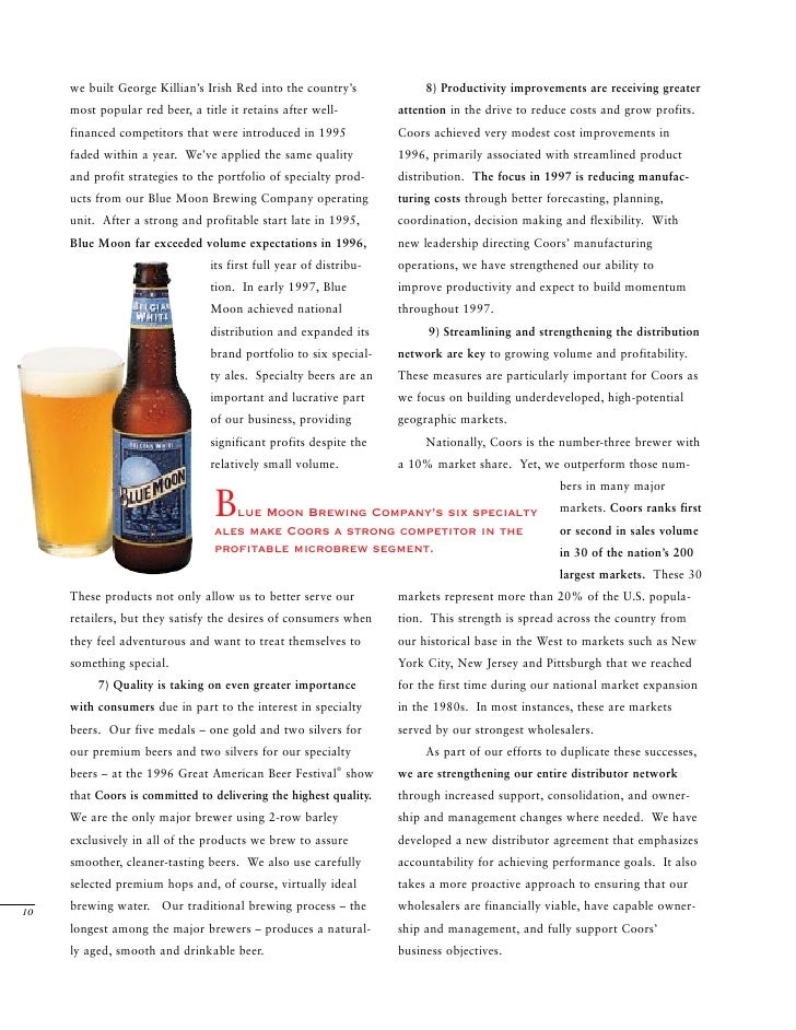 Molson Coors Brewing Coors Ar1996