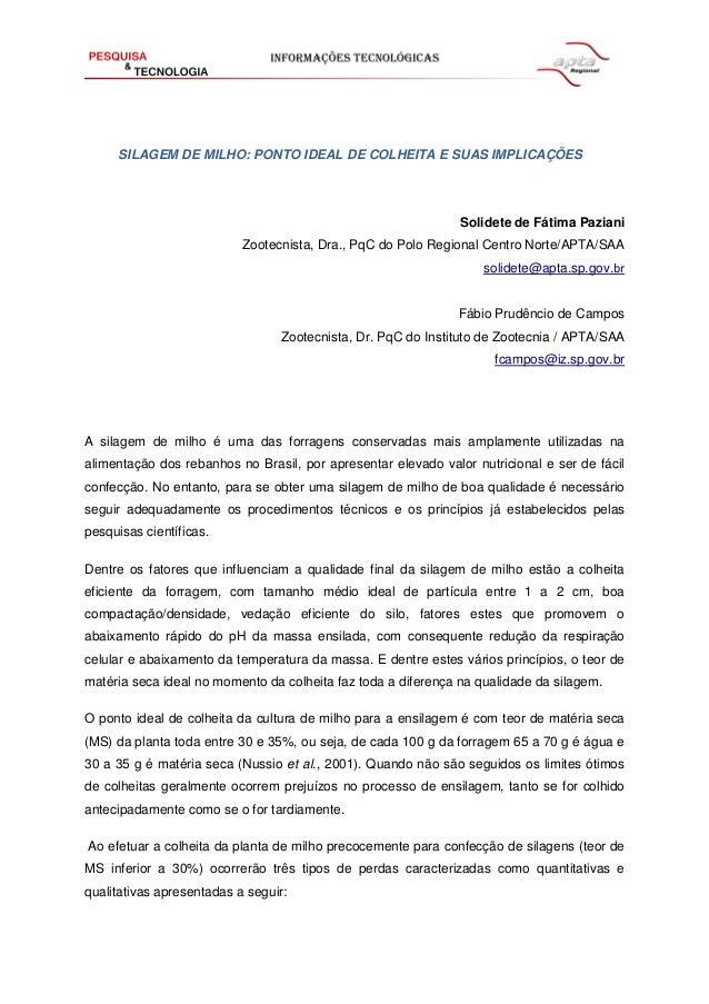 SILAGEM DE MILHO: PONTO IDEAL DE COLHEITA E SUAS IMPLICAÇÕES Solidete de Fátima Paziani Zootecnista, Dra., PqC do Polo Reg...