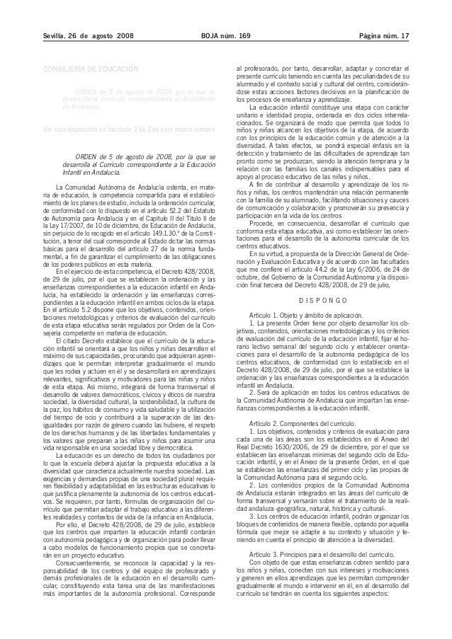 Sevilla, 26 de agosto 2008 BOJA núm. 169 Página núm. 17 CONSEJERÍA DE EDUCACIÓN ORDEN de 5 de agosto de 2008, por la que s...