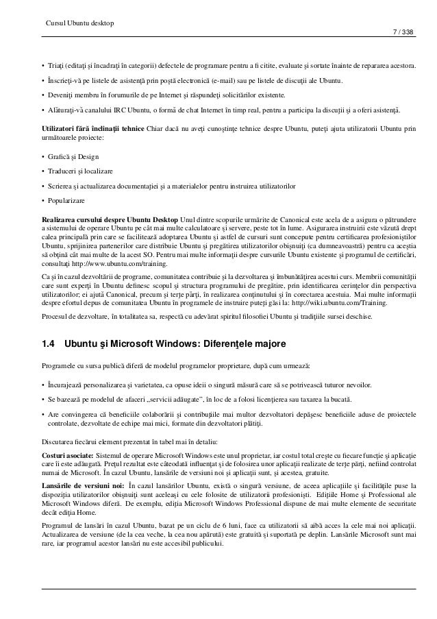 Cursul Ubuntu desktop 7 / 338 • Tria¸ti (edita¸ti ¸si încadra¸ti în categorii) defectele de programare pentru a fi citite, ...