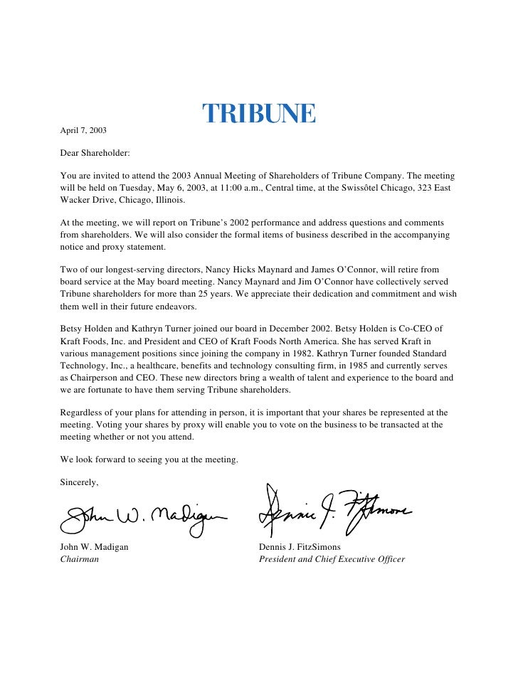 April 7, 2003  Dear Shareholder:  You are invited to attend the 2003 Annual Meeting of Shareholders of Tribune Company. Th...