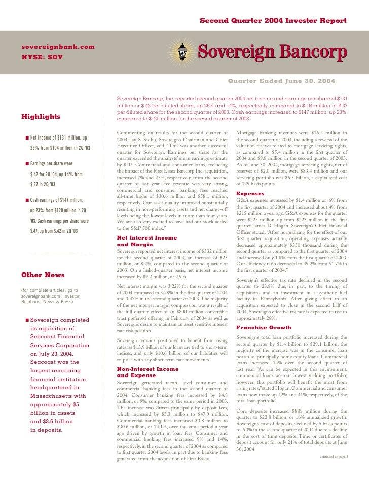 Second Quarter 2004 Investor Report   sovereignbank.com NYSE: SOV                                                         ...