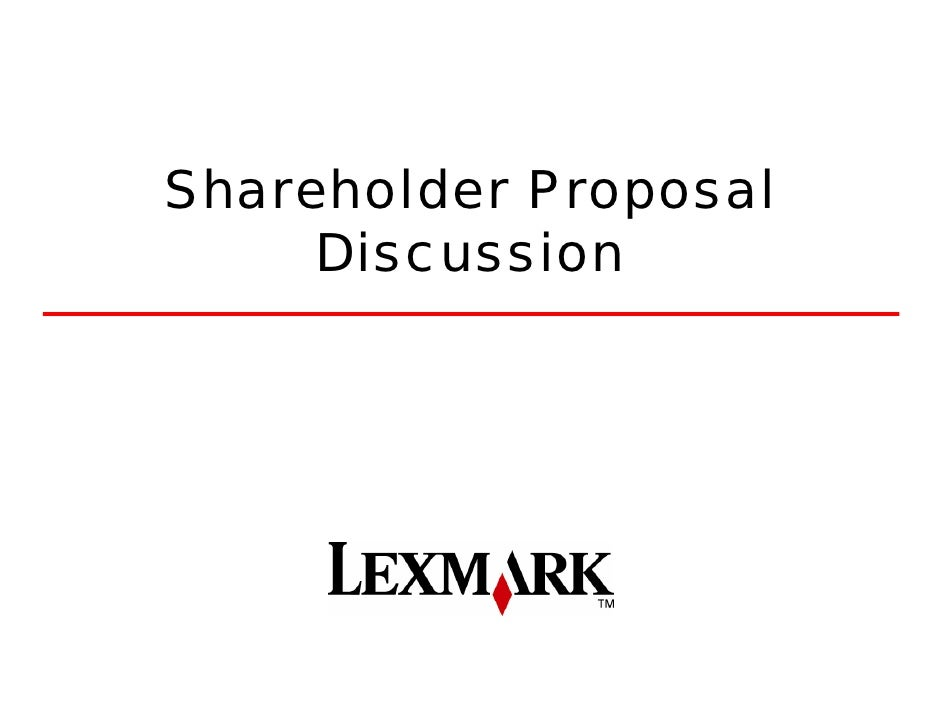 Shareholder Proposal      Discussion