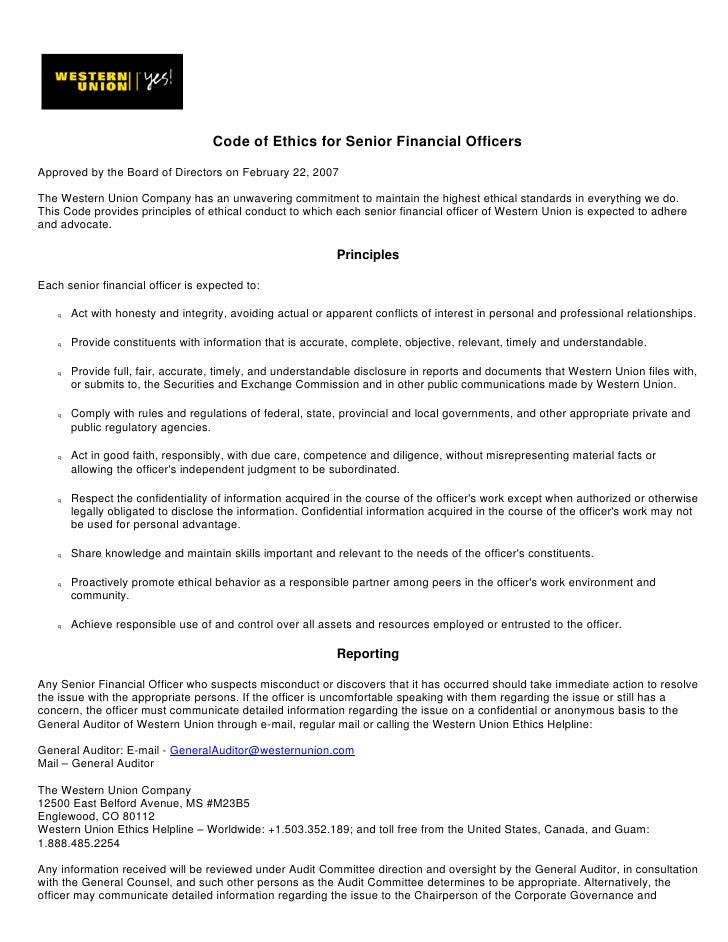 Code of Ethics for Senior Financial Officers  Approved by the Board of Directors on February 22, 2007  The Western Union C...