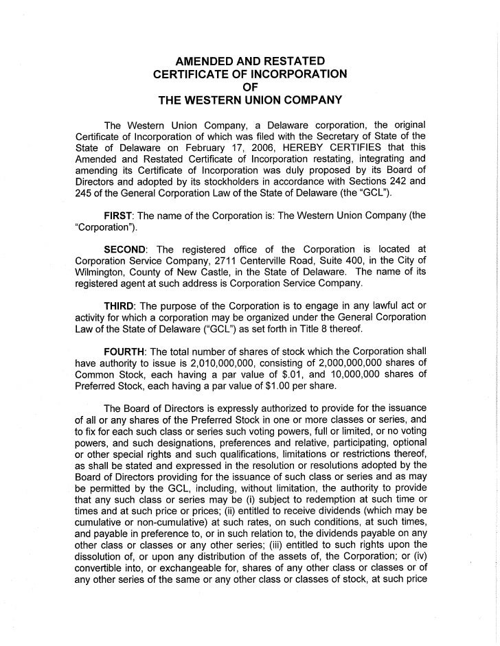 western union Certificate of Incorporation