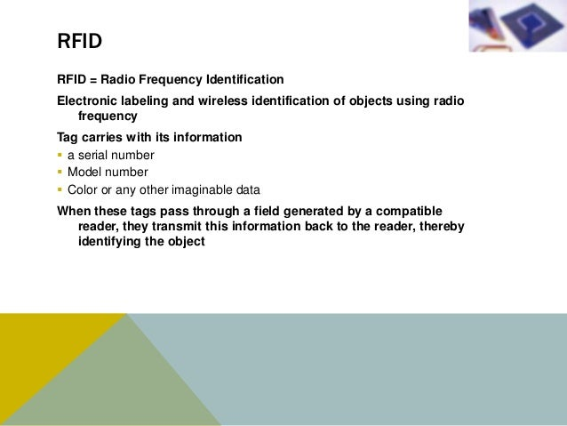 RFID COMPONENTSA basic RFID system consists of these components: A programmable RFID tag/inlay for storing item data;   ...