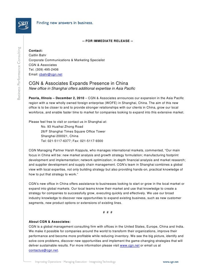 -- FOR IMMEDIATE RELEASE --Contact:Caitlin BahrCorporate Communications & Marketing SpecialistCGN & AssociatesTel. (309) 4...