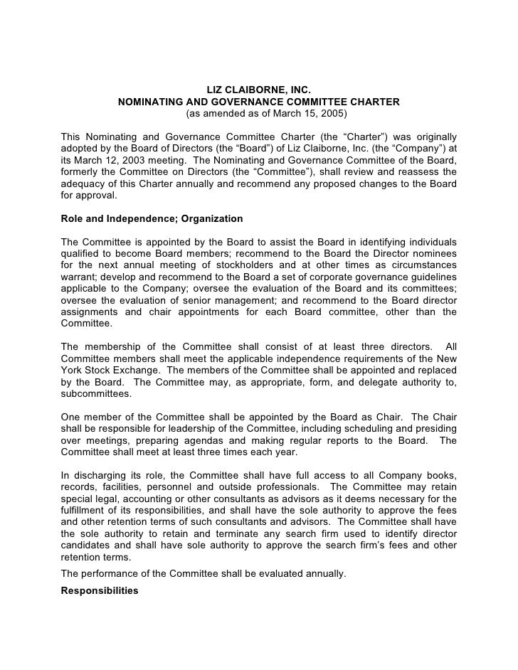 LIZ CLAIBORNE, INC.             NOMINATING AND GOVERNANCE COMMITTEE CHARTER                        (as amended as of March...