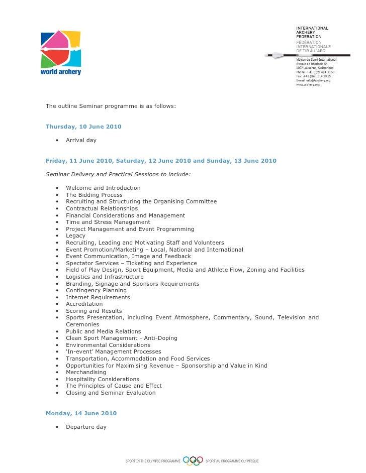 2. The Outline Seminar ...