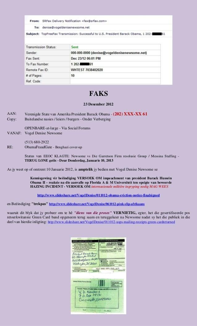 FAKS                                                 23 Desember 2012AAN:       Verenigde State van Amerika President Bara...