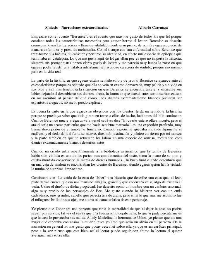 """Síntesis – Narraciones extraordinarias                        Alberto CarranzaEmpezare con el cuento """"Berenice"""", es el cue..."""